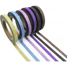 6 Rouleaux de Masking Tape Pailleté Paillette Glitter Multicolore Scrapbooking Washi 0.5cmx6.5m