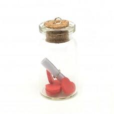 Breloque Fiole avec Coeur Fimo et Parchemin 20x38mm