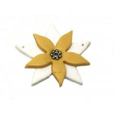 Connecteur Fleur en Pâte Polymère Fimo Pièce Unique 40mm pour la Création de Bijoux Fantaisie - DIY