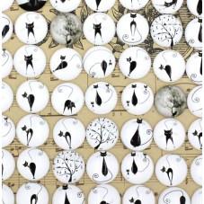 5 Cabochons en Verre Illustrés Chat Noir et Blanc 12mm pour la Création de Bijoux Fantaisie - DIY