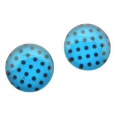 2 Cabochons en Verre Illustrés Bleu à Pois Noir 12mm pour la Création de Bijoux Fantaisie - DIY
