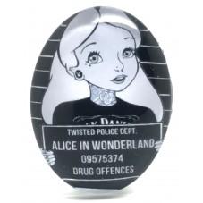 Cabochon en Verre Illustré Alice au Pays des Merveilles Gothique 30x40mm pour la Création de Bijoux Fantaisie - DIY