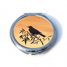 """Miroir de Poche Rond en Métal 6.2cm """"Silhouette Oiseau"""""""