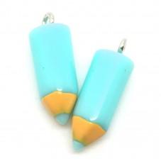 2 Breloques Crayons Bleu en Résine 18x5mm