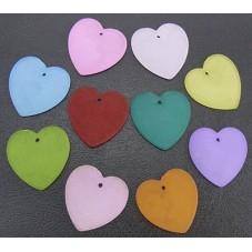 10 Breloques Coeur en Acrylique Multicolore 22 mm