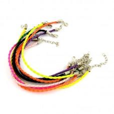 4 Bracelets Simili Cuir Tressé Multicolore 20cm pour la Création de Bijoux Fantaisie - DIY