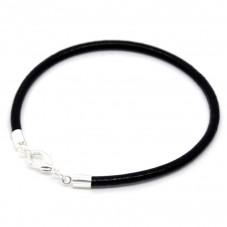 Bracelet en Cuir Véritable Noir 18cm à Customiser