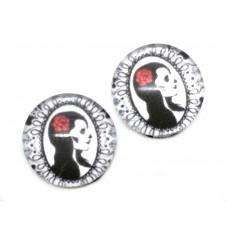 2 Cabochons en Verre Illustrés Tête de Mort Gothique 10mm