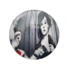 Cabochon en Verre Illustré Femme Gothique Chouette 25mm