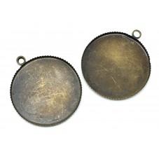 2 Supports Pendentif Bronze pour Cabochon 25mm