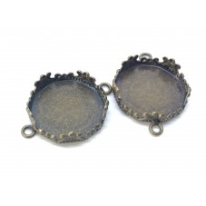 2 Supports Connecteur Bronze pour Cabochon 15mm pour la Création de Bijoux Fantaisie - DIY