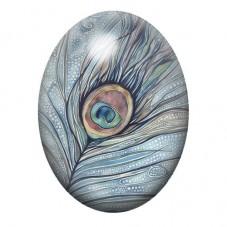 Cabochon en Verre Illustré Plume de Paon 13x18, 18x25 ou 30x40mm pour la Création de Bijoux Fantaisie - DIY
