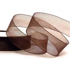2 Mètres de Ruban d'Organza Chocolat 15mm