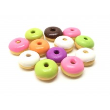 20 Donuts Miniatures en Pâte Polymère Fimo 10mm pour la Création de Bijoux Fantaisie - DIY