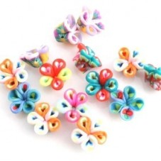 4 Perles Fleurs en Pâte Polymère Fimo 10mm pour la Création de Bijoux Fantaisie - DIY