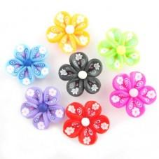 10 Perles Fleurs en Pâte Polymère Fimo 25mm pour la Création de Bijoux Fantaisie - DIY