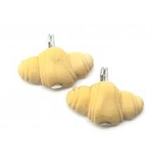 2 Breloques Croissant en Pâte Polymère Fimo 18x9mm pour la Création de Bijoux Fantaisie - DIY