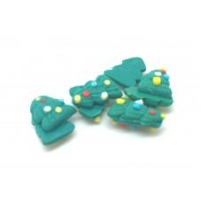 5 Cabochons Sapin de Noël Miniature Fimo 8x5mm pour la Création de Bijoux Fantaisie - DIY
