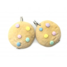 2 Breloques Cookies Gourmandise Fimo 17mm