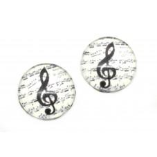 2 Cabochons en Verre Illustrés Clé de Sol Note de Musique 10mm pour la Création de Bijoux Fantaisie - DIY