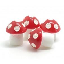 4 Cabochons Miniature Champignon en Résine pour Globe 13x10mm pour la Création de Bijoux Fantaisie - DIY