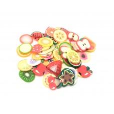 50 Tranches de Cane Fruits Mixte en Pâte Polymère Fimo pour la Création de Bijoux Fantaisie - DIY