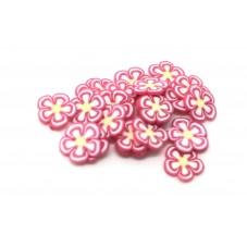 50 Tranches de Cane Fleur Rose Pâte Polymère Fimo pour la Création de Bijoux Fantaisie - DIY