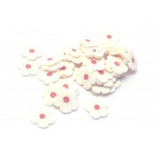 50 Tranches de Cane Fleur Blanche Pâte Polymère Fimo pour la Création de Bijoux Fantaisie - DIY