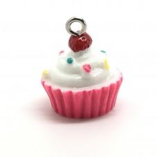 2 Breloques Cupcake en Résine Gâteau 18.5x15.5mm pour la Création de Bijoux Fantaisie - DIY