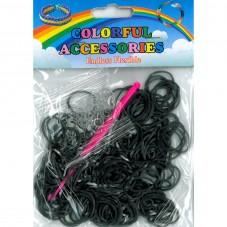 """260 Élastiques Noirs Bracelet Loom Bands + 1 Crochet + 8 Attaches Fermoirs """"S"""""""