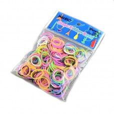"200 Élastiques Multicolores Fluo Bracelet Loom Bands + 1 Crochet + 6 Attaches Fermoirs ""S"""