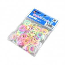 "200 Elastiques Multicolores Phosphorescent Bracelet Loom Bands + 1 Crochet + 6 Attaches Fermoirs ""S"""