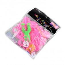 "260 Élastiques Rose Fluo Bracelet Loom Bands + 1 Crochet + 10 Attaches Fermoirs ""S"""