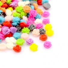 10 Mini Cabochons Fleurs Roses Multicolores en Résine 5mm