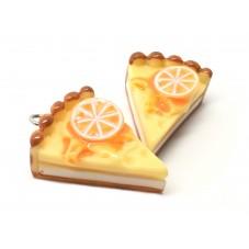 2 Breloques Gâteau Tarte à l'Orange en Résine 29mm