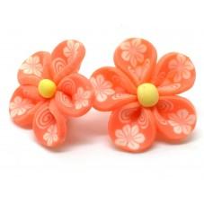 4 Perles Fleurs Orange Foncé en Pâte Polymère Fimo 20mm pour la Création de Bijoux Fantaisie - DIY