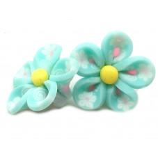 4 Perles Fleurs Bleu Turquoise en Pâte Polymère Fimo 20mm