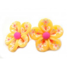 4 Perles Fleurs Oranges en Pâte Polymère Fimo 20mm