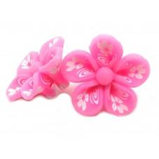 4 Perles Fleurs Roses en Pâte Polymère Fimo 20mm