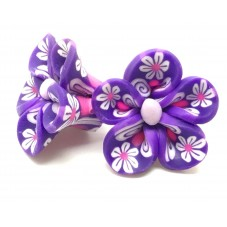 4 Perles Fleurs Violettes en Pâte Polymère Fimo 20mm