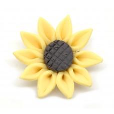 Perle Tournesol en Pâte Polymère Fimo 30mm pour la Création de Bijoux Fantaisie - DIY