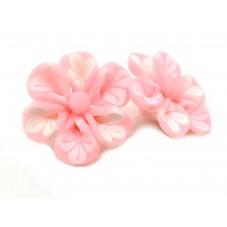 4 Perles Fleur Rose en Pâte Polymère Fimo 20mm pour la Création de Bijoux Fantaisie - DIY