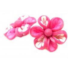 4 Perles Fleur Fuchsia en Pâte Polymère Fimo 20mm