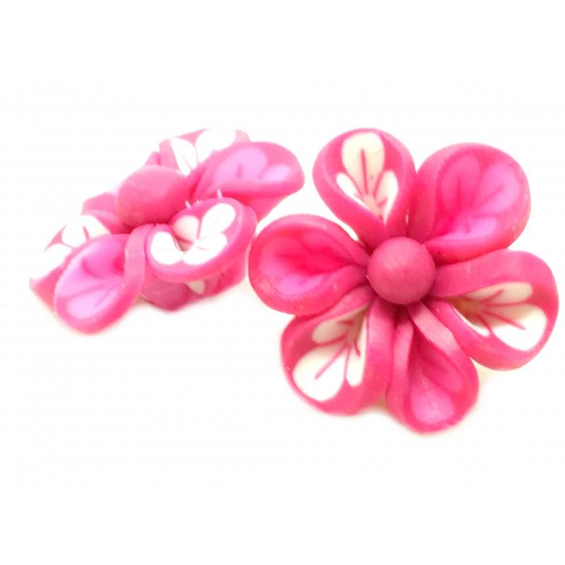 4 perles fleur fuchsia en p te polym re fimo 20mm. Black Bedroom Furniture Sets. Home Design Ideas