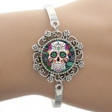 Bracelet avec cabochon en Verre Tête de Mort Gothique
