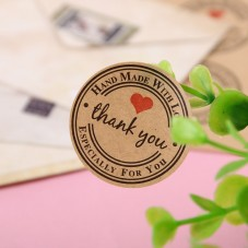 "Planche Papier Kraft de 12 Autocollants ""Thank You"""