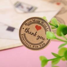 """Planche Papier Kraft de 12 Autocollants """"Thank You"""""""