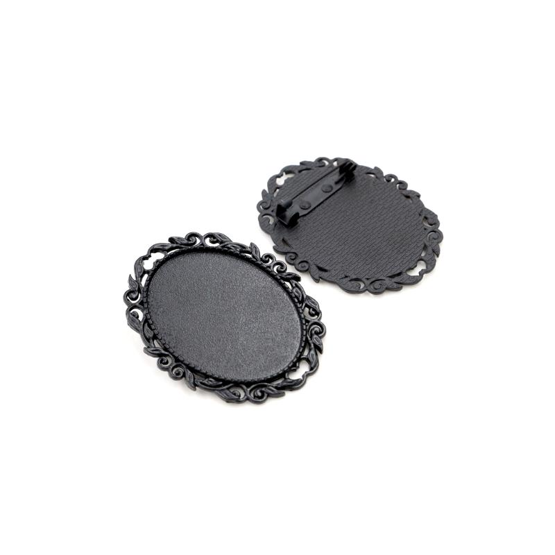 Support Broche Noir pour Cabochon 30x40mm