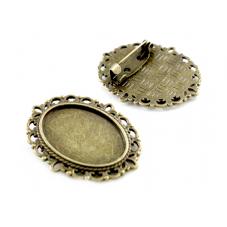 Support Broche Bronze pour Cabochon 18x25mm