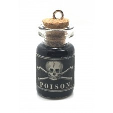Breloque Fiole en Verre Poison Crâne Gothique Fimo 25mm pour la Création de Bijoux Fantaisie - DIY